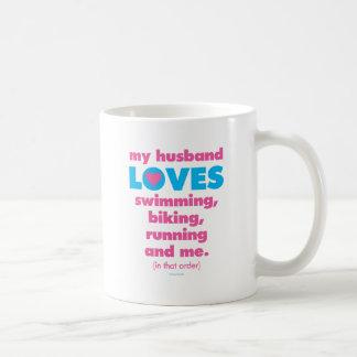 My Husband Loves Triathlons (Text Only) Coffee Mug