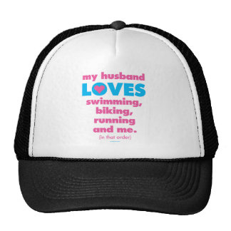 My Husband Loves Triathlons Text Only Trucker Hats