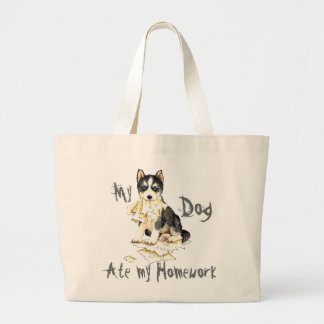 My Husky Ate my Homework Large Tote Bag
