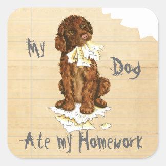 My Irish Water Spaniel Ate My Homework Square Sticker