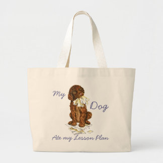 My Irish Water Spaniel Ate My Lesson Plan Large Tote Bag