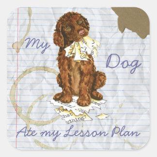 My Irish Water Spaniel Ate My Lesson Plan Square Sticker