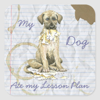 My Irish Wolfhound Ate My Lesson Plan Square Sticker