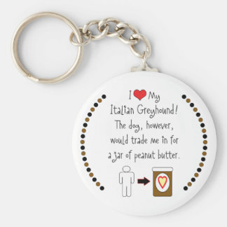 My Italian Greyhound Loves Peanut Butter Basic Round Button Key Ring