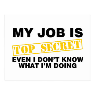 My Job Is Top Secret Postcard