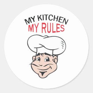 MY KITCHEN MY RULES ROUND STICKER