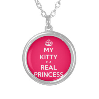 My Kitty Is A Real Princess Round Pendant Necklace