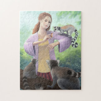My Lemur Friends - Girl with Ring-tailed Lemurs Jigsaw Puzzle