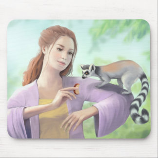 My Lemur Friends - Girl with Ring-tailed Lemurs Mouse Mat