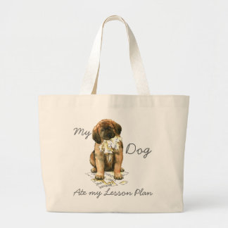 My Leonberger Ate My Lesson Plan Large Tote Bag