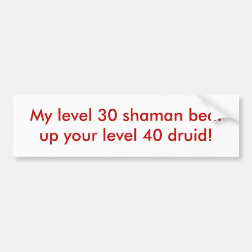 My level 30 shaman beat up your level 40 druid! bumper stickers