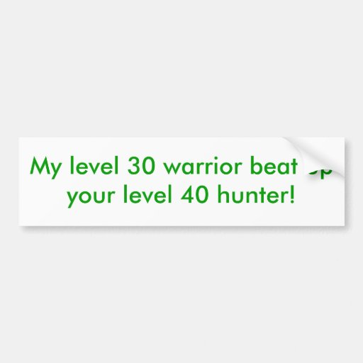 My level 30 warrior beat up your level 40 hunter! bumper stickers