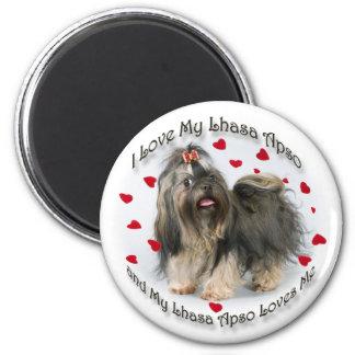 My Lhasa Apso Loves Me 6 Cm Round Magnet