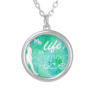 My Life is on the ice Figure Skating Design Silver Plated Necklace
