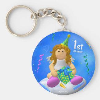 My Little Angel: First Birthday Basic Round Button Key Ring