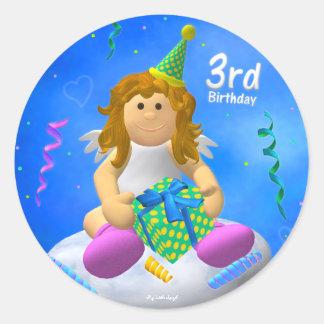 My Little Angel Third Birthday Round Sticker
