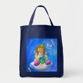 My Little Angel Third Birthday Grocery Tote Bag