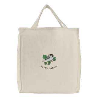 My Little Chickadee Embroidered Canvas Bag
