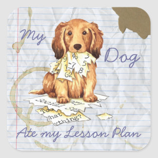 My Longhaired Dachshund Ate my Lesson Plan Square Sticker