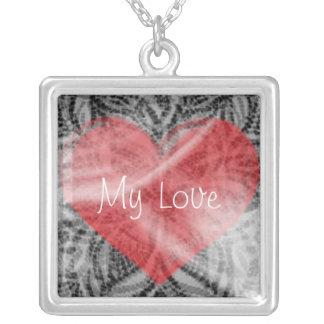 My Love Heart Square Pendant Necklace