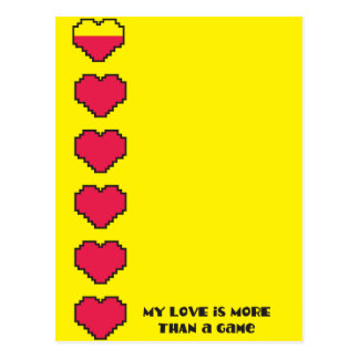 My love is more than a game Digital gaming hearts Postcard
