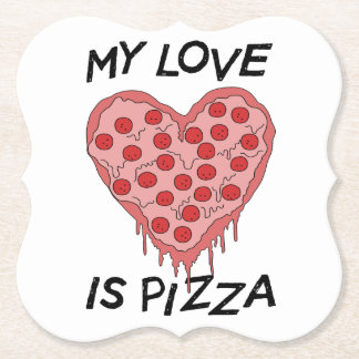 My Love is pizza Paper Coaster
