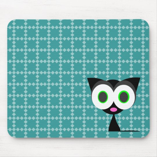 My Lucky Black Cat Blue Patterned Mousepad