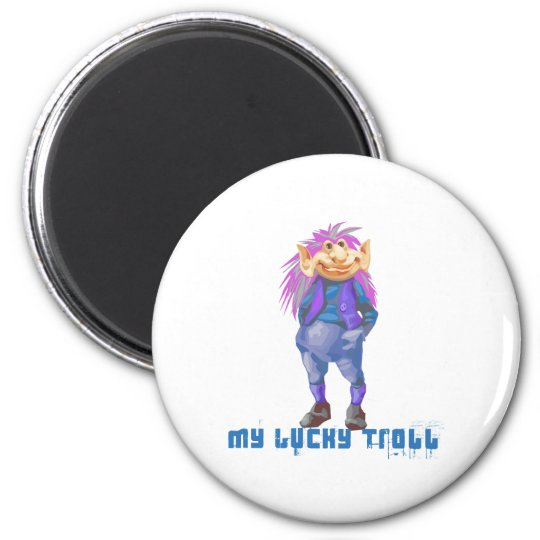 my lucky troll 6 cm round magnet