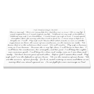 My Marriage Creed Canvas Print