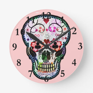 My mexican Skull Round Clock