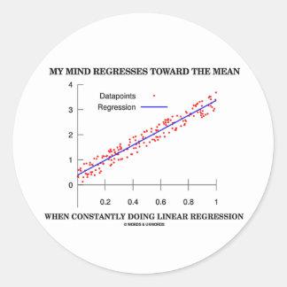 My Mind Regresses Toward Mean Linear Regression Classic Round Sticker