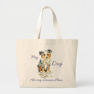 My Mini American Shepherd Ate My Lesson Plan Large Tote Bag