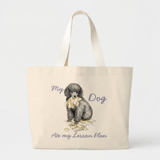 My Miniature Poodle Ate My Lesson Plan Large Tote Bag
