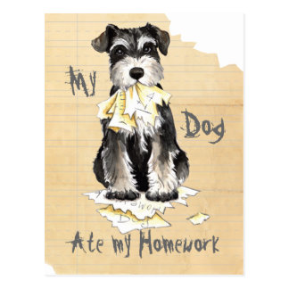 My Miniature Schnauzer Ate My Homework Postcard