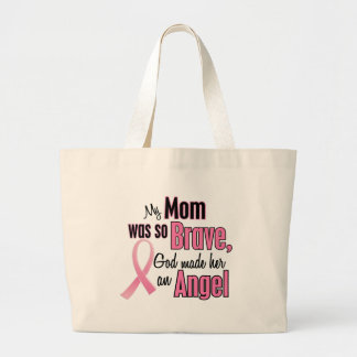 My Mom Is An Angel Breast Cancer Large Tote Bag