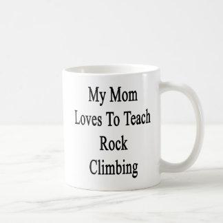 My Mom Loves To Teach Rock Climbing Basic White Mug