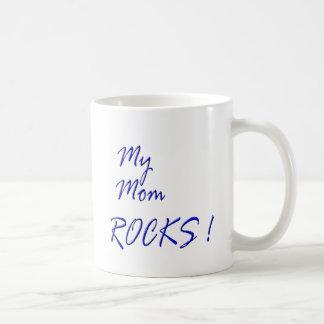 My Mom Rocks ! (blue) Basic White Mug