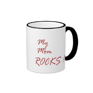 My Mom Rocks ! (red) Ringer Mug