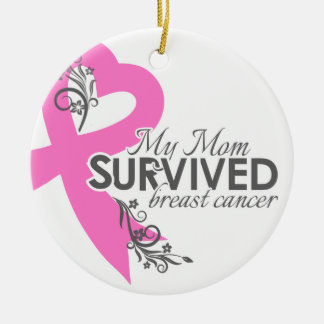 My Mom Survived Breast Cancer Round Ceramic Decoration