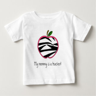 My Mommy is a Teacher - Zebra Print Apple Baby T-Shirt