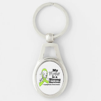 My Mother is a Strong Survivor of Lymphoma Silver-Colored Oval Keychain