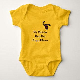 My Mum beat her angry uterus Baby Bodysuit