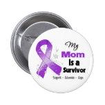 My Mum is a Survivor Purple Ribbon Buttons