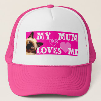 MY MUM LOVES ME - PINK HAT WITH CAT