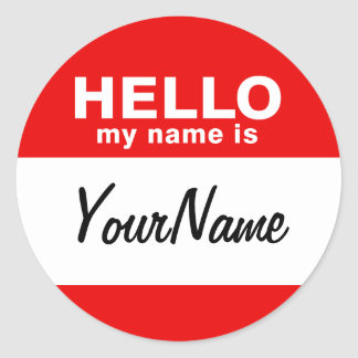 My Name Is Blank Custom Nametag Red (pack of 6/20) Classic Round Sticker