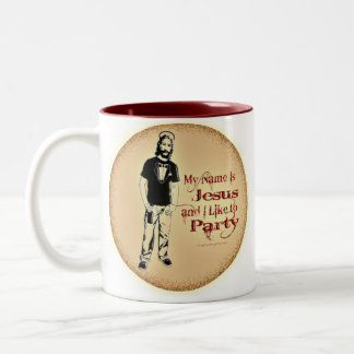 MY NAME IS JESUS AND I LIKE TO PARTY Two-Tone COFFEE MUG