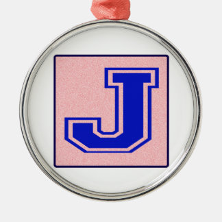 My name starts with J Silver-Colored Round Decoration