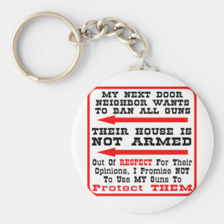 My Neighbor Wants To Ban All Guns Basic Round Button Key Ring