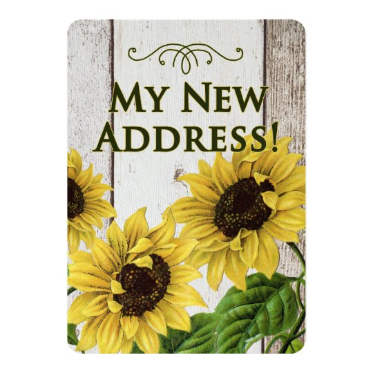 My New Address Announcement-Sunflowers, Retro Card