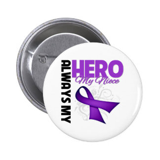 My Niece Always My Hero - Purple Ribbon 6 Cm Round Badge